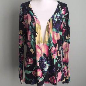 Lane Bryant 22/24 clasp front floral cardigan